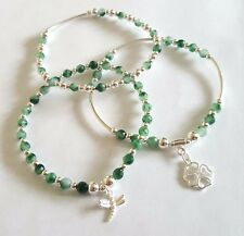 sterling silver set of 3 green jade stacking noodle bead charm bracelets new