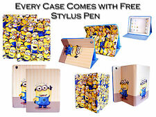 Despicable Me Minion PU Leather Stand Wallet Case For Apple iPad 2 3 4 Air Mini