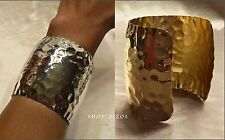 """SILVER or GOLD HAMMERED TEXTURED FOIL TALL 2.5"""" CUFF STATEMENT BRACELET NEW"""