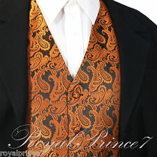 Rust Orange Paisley Tuxedo Suit Dress Vest Waistcoat Formal Party Prom Wedding