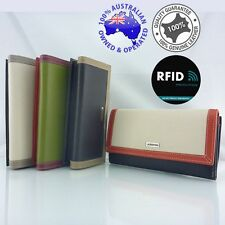 Genuine Full Grain Soft Leather Ladies Womens Long RFID Protected Wallet Purse C