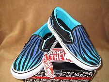 NEW VANS CLASSIC SLIP ON ZEBRA FADE SHOE BLK/SCUBA BLUE YOUTH 10.5,11,13.5,2.5