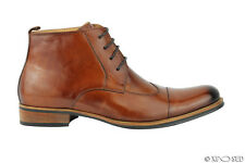 Mens Tan Leather Vintage Italian Style Lace up Boots Smart Formal Ankle Shoes