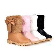 Plus Size Womens Sweet Warm Faux Fur Cuffed Bow Tie Ankle Snow Boots Shoes e99