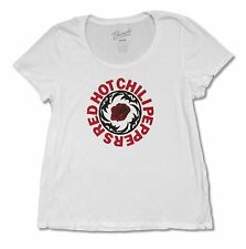 """RED HOT CHILI PEPPERS """"ROSE"""" WHITE SCOOPNECK LADIES PLUS T-SHIRT ADULT BAND"""