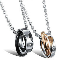 New Crystal Stainless Steel Heart Puzzle Two Tone Rings Pendant Couple Necklace