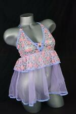 VICTORIAS SECRET Pink Purple Lace Ruffle Babydoll Tulle Bow Sheer S M NWT $68