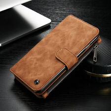 Genuine Leather Card Multifunction Case Cover Zipper Wallet For iPhone Samsung