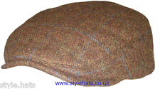 Christmas SALE 50% OFF Flat Cap Brown Tweed Check 100% Wool Hat Size S-M