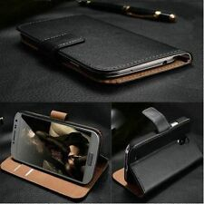 For Huawei Luxury Genuine Black Real Leather Card Slot Wallet Flip Cover Case