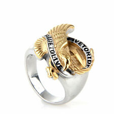 """Live to Ride Ride to Live""Stainless Steel Men Eagle Hawk Biker Ring Gold Silver"