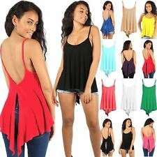 Womens Ladies High Low Back Split Flared Strappy Swing Cami Vest Top Plus Size