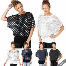 Womens 2 in 1 Polka Dot Batwing Sleeve Kimono Chiffon Blouse Tunic Vest Top 4-16
