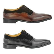 Mens Brown Black Real Suede Leather Vintage Italian Style Oxford Lace up Shoes