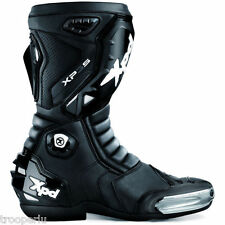 XPD 'XP3-S LEATHER RACE MOTORCYCLE BOOTS - BLACK BXXP3044-47 REPLACEABLE SLIDERS