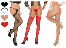 FISHNET STOCKINGS Thigh Highs with FLORAL LACE TOP for use with Garterbelt OS