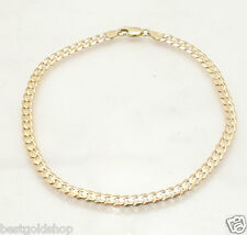 5mm  Solid Miami Cuban Curb Link Ankle Bracelet Anklet Real 14K Yellow Gold