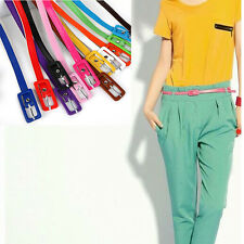 Sexy Ajustable Women's Candy Colors Thin Skinny Waistband PU Leather Belts
