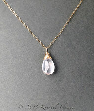 Natural Rose Quartz Necklace in 14k Gold-Filled, rose gold or yellow