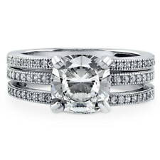 BERRICLE Sterling Silver Cushion CZ Solitaire Engagement Ring Set 2.41 Carat