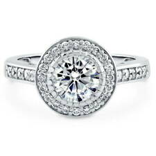 BERRICLE Sterling Silver 1.58 Carat Round Cut CZ Halo Engagement Ring