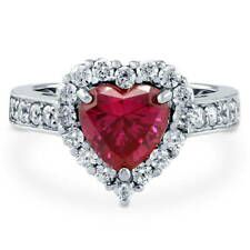 BERRICLE Silver Heart Shaped Simulated Ruby CZ Halo  Engagement Ring 2.43 Carat