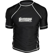 Gameness Short Sleeve IBJJF Rank Rash Guard - Black White Blue BJJ Rashguard