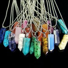 natural gemstone hexagonal pointed Reiki Chakra pendant beads stone necklace