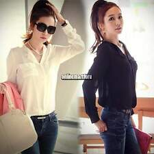 Womens Long Sleeve OL Career Chiffon Tops Blouse Button Down Shirt T-shirts ONMF