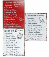 Retro Metal Tin Wall Hanging Plaque Décor - Recipe for Friendship Love Happines