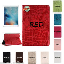 iPad Folio Smart Cover Case Crocodile Texture PU Leather Wallet Smart Case Cover
