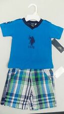 US Polo Assn boys blue top and plaid shorts 2 piece set (31993)