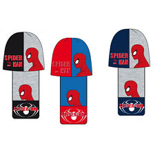 Spiderman Boys Hat And Scarf Set Contrast Kids Winter Warm Marvel Set 3-10 Years