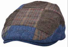 Flat Cap Brown Tweed Check 100% Wool Hat Size S-M SALE 60% OFF