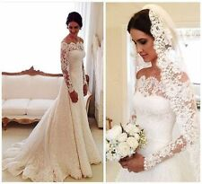 Lace Wedding Dress Off Shoulder Long Sleeve Court Train Long Bridal Gown Size