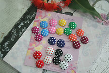 Polka Dot Earrings - Polka Dot Fabric Covered Button Earrings Studs or Clip-Ons