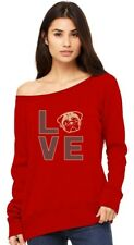 Love Pugs - Cute Pug Face Dog Lovers Gift Idea Off shoulder sweatshirt Animal