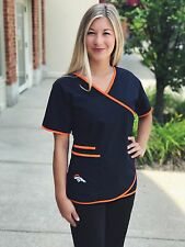 Denver Broncos Women's Mock Wrap Scrub Top