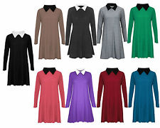 WOMENS LADIES LONG SLEEVE PETER PAN STRETCHY LOOSE JERSEY SWING PLUS SIZE DRESS
