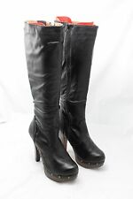 NEW Never too Hot (N2H) Black Punk Knee-High Gothic Platform Heels sizes 6-8.5