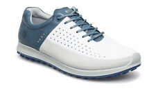 ECCO 2016 Mens Biom Hybrid 2 White/Blue Hydromax Waterproof Leather Golf Shoes
