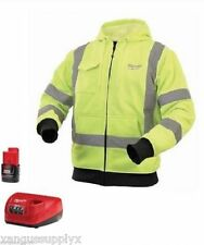 Milwaukee M12 HI VIS  Heated Hoodie Shirt 2379 with Battery and Charger