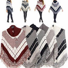 PONCHO CAPE TURTLENECK SHAWL WOOL FRINGES KNITTED JUMPER ROLL NECK SIZE 36-42