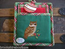 GREEN & RED PLAID KAY DEE 3 PIECE CHRISTMAS OWL SET: POT HOLDER, TOWEL & CLOTH