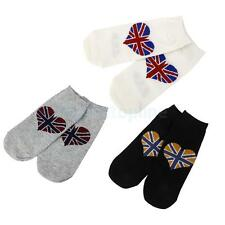 Pair Men Women Trendy Ankle Socks Union Flag Cotton Hosiery Low Cut US Size 7-10