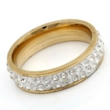 Gold Stainless Steel Cubic zirconia Clean Mens Womens Band Ring Size 7 8 9 10 11