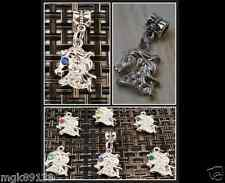 Horse Head CZ Birthstones Dangle Bead For European Silver Charm Bracelets