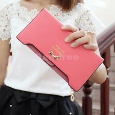 Fashion Women Bowknot Purse PU Leather Zipper Clutch Lady Wallet Card Holder Bag