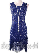 1920s Vintage Flapper Dress Gatsby Charleston Sequin Tassel Beaded Costumes 4-18