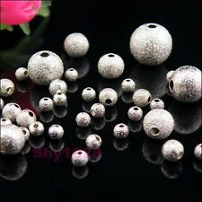 Silver Plated Copper Round Stardust Spacer Beads 3mm,4mm,6mm,8mm,10mm R5083